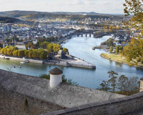Deutsches Eck Koblenz mit Mosel und Rhein