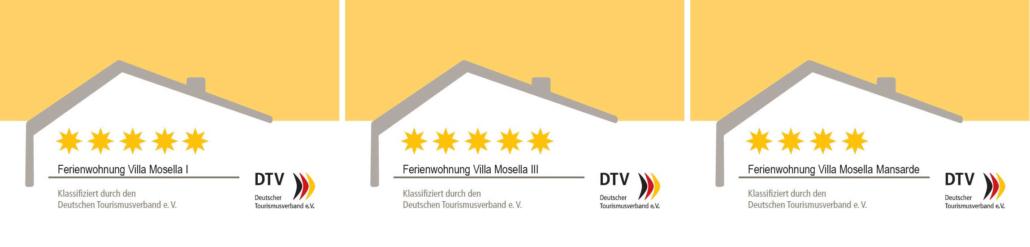 DTV-5-Sterne-Klassifizierung Ferienwohnungen Villa Mosella